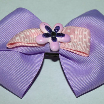 lavender hair bow- spring flower accessories- Easter barrette