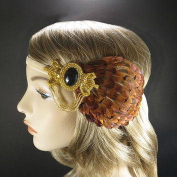 Autumn Hair Accessories, Great Gatsby Flapper Headpiece, 1920s Art Deco Headband, Fall Wedding, Gold Beaded Feather Fascinator
