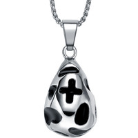 Stainless Steel Cross on Irregular Shape Pendant Necklace