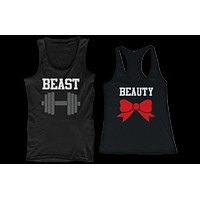 Beauty Beast Couple Tank Tops Funny Mtaching Work out Tanks For Couples