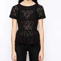 French Connection Mykas Lace Peplum Top