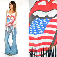 fringed ROLLING STONES diy paper-thin DISTRESSED tank top t-shirt, one size fits all