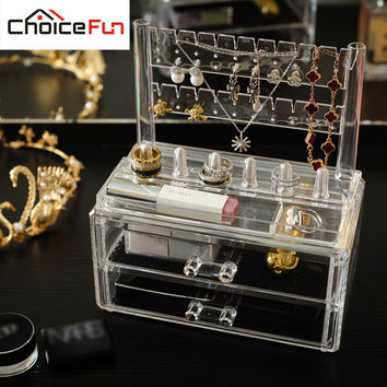 Plastic Makeup Organizer Cosmetic Jewelry 2 Drawer Cases Holder Makeup Container Boxes