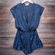 Lioness pur-suede me with ruffle hem romper in navy suede