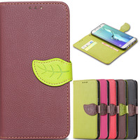 S6 Edge Plus Sleeve Lychee Pattern Leaf Magnetic Chip Case For Samsung Galaxy S6 Edge Plus G928 G928F Wallet Card Stand Cover