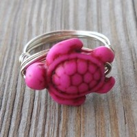Handmade Silver Wire Pink Turtle Ring Size 7 Chaolite Pink Turtle Bead:18x14x7mm Alpaca Non Tarnish Silver Wire Brand New