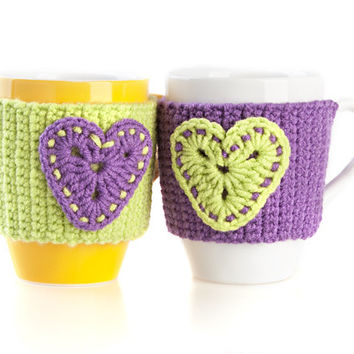 Crochet mug cozy warmer, mug warmer, cup cozy, tea cozy, gift for couple, Purple and Olive, Set of 2, Available in two sizes