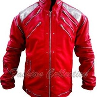 Michael Jackson Beat It Red Leather Jacket- All Sizes are Available