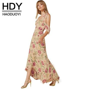 HDY Haoduoyi Floral Print Spaghetti Strap A-line Dress Plunge Neck Cut Out Backless Vestidos Loose Bohemian Maxi Beach Dress
