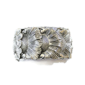 Whiting And Davis Sunflower Repousse Silver Tone Wide Clamper Bangle Bracelet