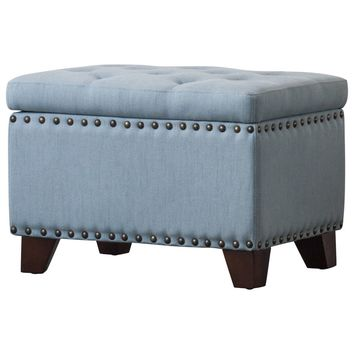 Jonas Fabric Rectangular Nailhead Tufted Storage Ottoman Ocean