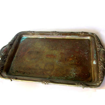 Metal tray. Old copper tray. Antique copper trinket tray. Floral tray. Embossed copper. Ornate tray. Vintage.