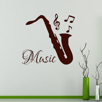 Wall Decals Musik Quote Decal Vinyl Sticker Saxophone  Decal Home Decor Bedroom Dorm Living Room MN 102