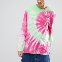 Puma Tie Dye Effect Long Sleeve T-Shirt In Pink Exclusive To ASOS at asos.com