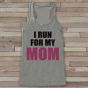 Women's I Run For Tank - Cancer Awareness Tank - Grey Tank Top - Grey Racerback Tank Top - Running Race Team Tanks - Fight Cancer Shirt