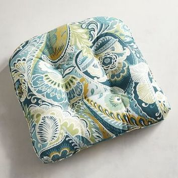 Standard Contour Chair Cushion in Paisley Teal