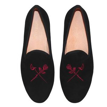 S&D Smythe and Digby Men's Black Velvet Slippers Albert Loafers Rose and Sword Embroidered Motif