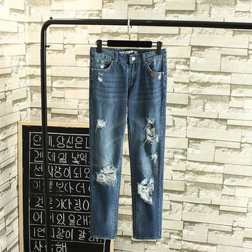 Summer With Pocket Embroidery Rinsed Denim Ripped Holes Jeans [6332322692]