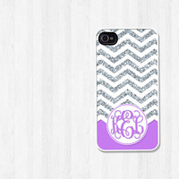 Personalized Phone Case, iPhone 4, iPhone 5, Samsung Galaxy S3, Chevron Silver Glitter and Purple Script Monogram