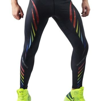 Rainbow Leggings for Men, Black Meggings