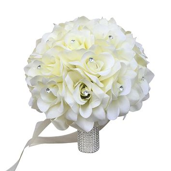 10 inch Bouquet - Ivory Open Roses with Rhinestone - Pick Ribbon Color