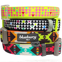 "Blueberry Pet Soft & Comfortable Vintage Tribal Pattern Adjustable Neoprene Padded Dog Collar in Extravagant Green, Neck 12""-16"", Small, Collars for Dogs"