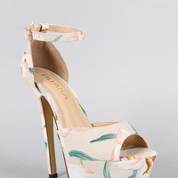 Liliana Floral Ankle Strap Stiletto Platform Pump Color: Pink, Size: 10
