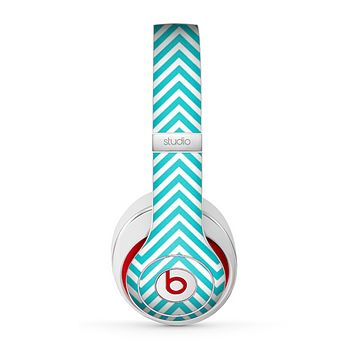 The Trendy Blue & White Sharp Chevron Pattern Skin for the Beats by Dre Studio (2013+ Version) Headphones