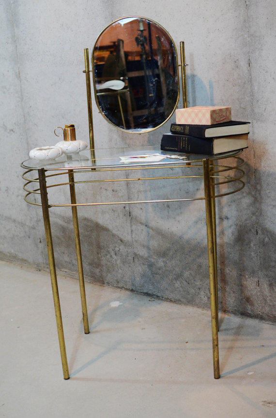 Rare Vintage Vanity Gold Metal Mid From Thought Cake Living