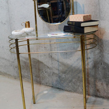 Rare Vintage Vanity, Gold Metal Mid Century Hollywood Regency Vanity Table, Free Standing Gold Vanity with Glass Top and Swivel Mirror
