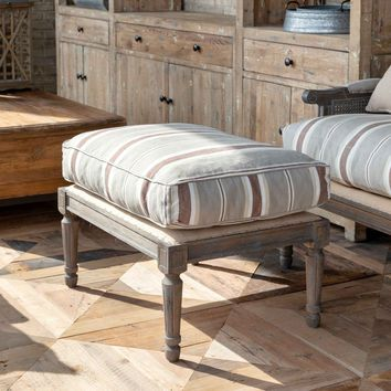 Ottoman with Brown Linen Stripe Cushion