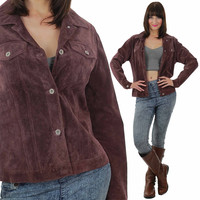 Suede Jacket Vintage 90s suede leather coat  Hippie Biker Moto Jacket long sleeve pockets plum Purple cropped jacket M Medium Tall