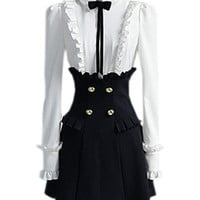Black And Wide Shirt Style Dress [NCSKX0369] - $141.99 :