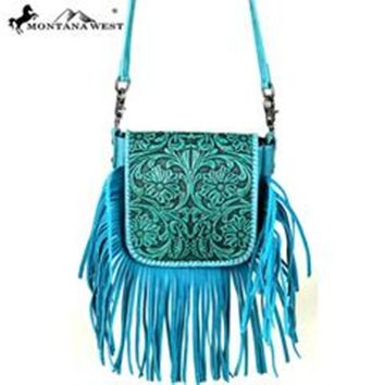 Fab Turquoise Tooled Leather Cross Body Montana West Bag RLC-L085