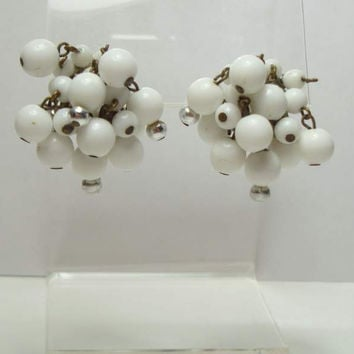 West Germany White Bead Cluster Earrings Clip On Style Vintage Jewelry