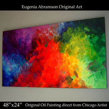 Original Modern Oil Painting on Canvas 48x24 Huge Abstract Fine Art palette knife technique Contemporary Wall Decor by Eugenia Abramson