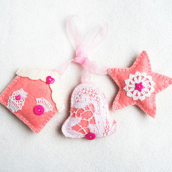 Christmas felt ornament, pink, house, star, bell, set of 3, Christmas tree ornament, handmade home decor