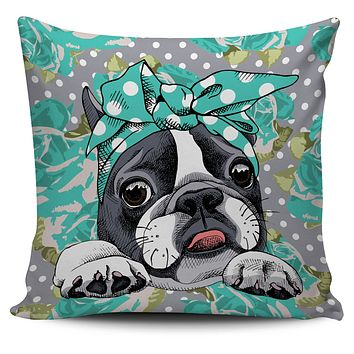 Floral Boston Terrier Turquoise Pillow Cover