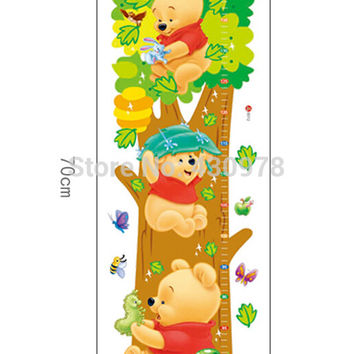decorate children room Trees And Bear Pattern Removable Wall Stickers Height Measure For Kids Room Wall Decal Home Decals LM2001 SM6