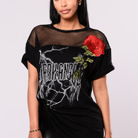 Lightning Rose Top - Black