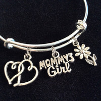 Mommy's Girl Bracelet Silver Expandable Adjustable Wire Bangle Charm Bracelet Trendy Kid's Size Available