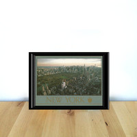 New York City, NY Skyline in Gray and Gold, Paper Ephemera {1990s} Vintage Postcard