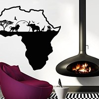 African Safari Wall Decal African Map Vinyl Stickers Animals Housewares Art Interior Nursery Bedroom Removable Home Decor C553