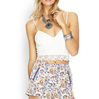 FOREVER 21 Floral Paisley Woven Shorts Taupe/Navy