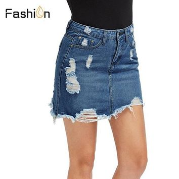 Distressed Pencil Skirt Blue Denim Women Sexy Casual Mini Summer Skirts Ripped Pockets Bodycon Jeans Skirt Plus Size Clothes