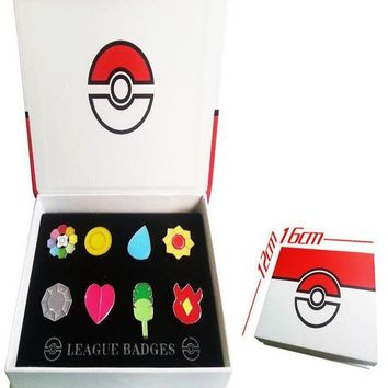 Pocket Monster  Kanto 8 Metal League Gym Badge Pin Pip Gen Red Cosplay Prop Collection Set 8*badgesKawaii Pokemon go  AT_89_9