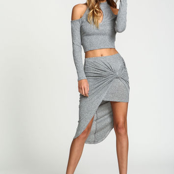 Knot Ribbed Knit Asymmetrical Skirt