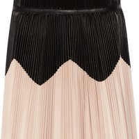 Pleated two-tone leather skirt | ALEXANDER MCQUEEN | Sale up to 70% off | THE OUTNET