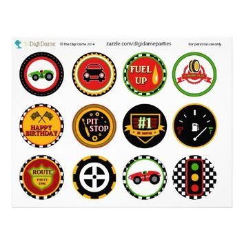 Speedway Car Racing Party Cupcake Toppers