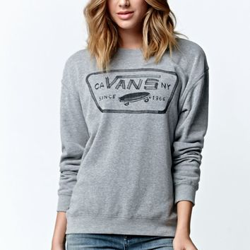 Vans Authentic Crew Fleece Sweatshirt - Womens Hoodie - Grey - Small